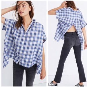 NWT MADEWELL Central Shirt Linus Plaid Open Back